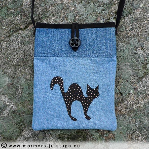 Återbruk jeansväska med katt - VASK-008